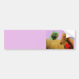 Retro pink sky Christmas Horse Bumper Sticker