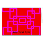 Retro pink squares on red card