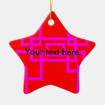 Retro pink squares on red christmas tree ornaments