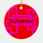Retro pink squares on red ornament