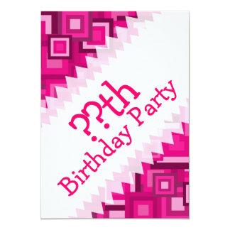 Retro Pink Squares Pattern Card