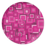 Retro Pink Squares Pattern Plate