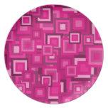 Retro Pink Squares Pattern Plate