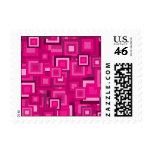 Retro Pink Squares Pattern Postage Stamp