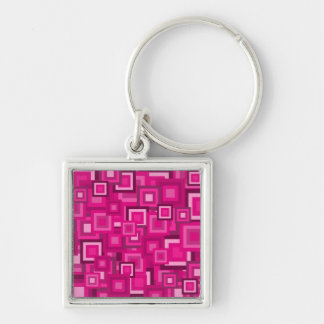 Retro Pink Squares Pattern Silver-Colored Square Keychain