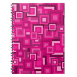 Retro Pink Squares Pattern Spiral Note Book