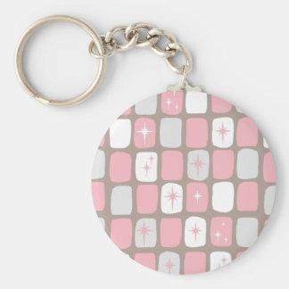 Retro Pink Starbursts Button Keychain