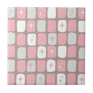 Retro Pink Starbursts Ceramic Tile