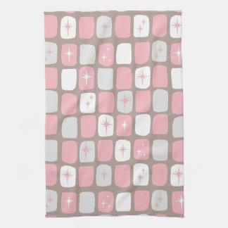 Retro Pink Starbursts Kitchen Towel
