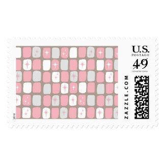 Retro Pink Starbursts Postage Stamps