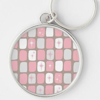 Retro Pink Starbursts Round Keychain