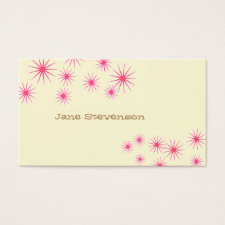 Retro Pink Stars Whimsical Light Yellow Cute Business Card
