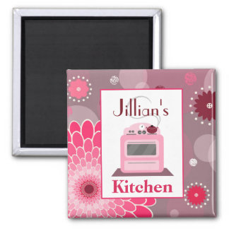 Retro Pink Stove Flowers & Dots Kitchen Magnet