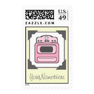 Retro Pink Stove Postage Stamp