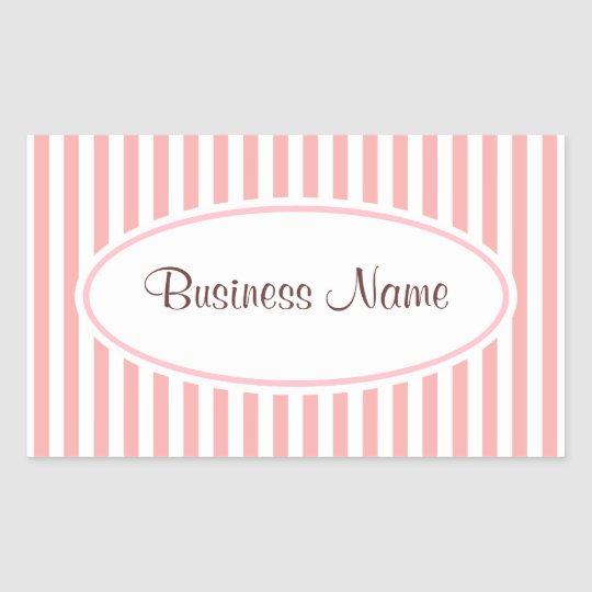 Retro Pink Striped Business Stickers