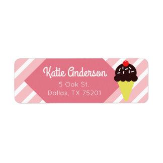 Retro Pink Striped Ice Cream Custom Address Labels