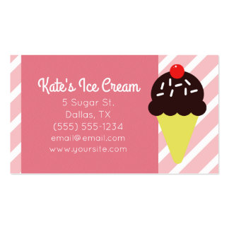 Retro Pink Striped Ice Cream Shop Business Cards