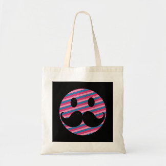 Retro Pink Striped Mustache Smiley Face Budget Tote Bag