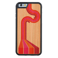 Retro Pink Stripes Pattern Carved® Cherry iPhone 6 Bumper