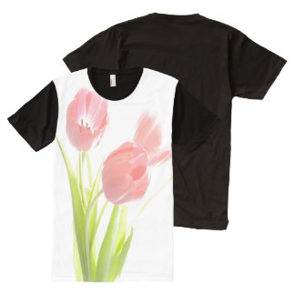 Retro pink tulip flower  American Apparel All-Over Print T-shirt