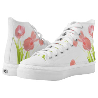 Retro Pink tulip flower rockabilly hightop shoes Printed Shoes