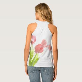 Retro pink tulip flower rockabilly tank top