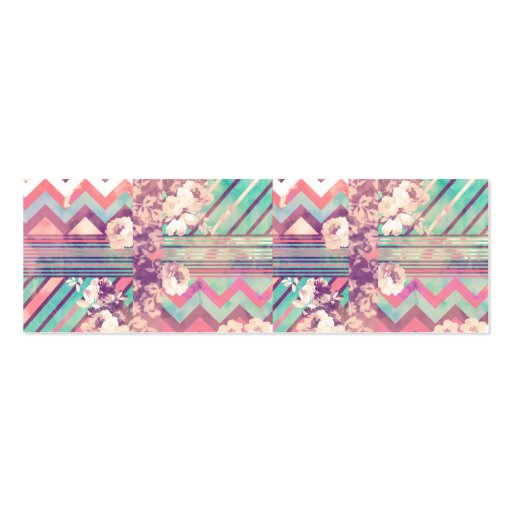Retro Pink Turquoise Floral Stripe Chevron Pattern Double-Sided Mini Business Cards (Pack Of 20)