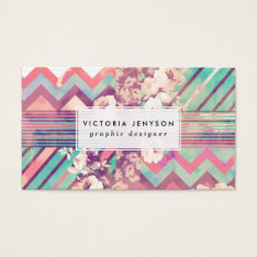 Retro Pink Turquoise Floral Stripe Chevron Pattern Business Card at Zazzle