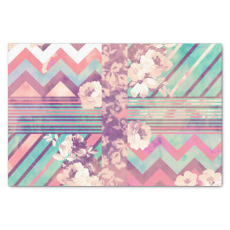 "Retro Pink Turquoise Floral Stripe Chevron Pattern 10"" X 15"" Tissue Paper"