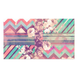 Retro Pink Turquoise Floral Stripe Chevron Pattern Double-Sided Standard Business Cards (Pack Of 100)