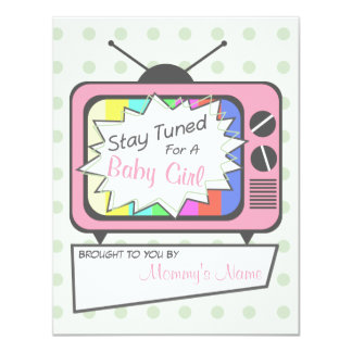 Retro Pink TV Set Baby Shower Invitation
