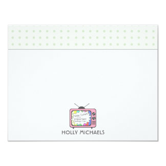 Retro Pink TV Set Flat Notecards Invitations
