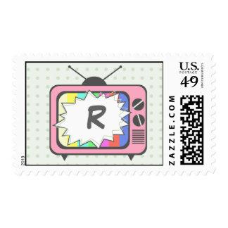 Retro Pink TV Set- Monogrammed Postage Stamp