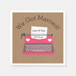 Retro Pink Typewriter Wedding Paper Napkins