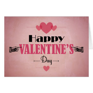Retro Pink Valentine's Day Card - Hearts and Hands