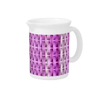 Retro pink wicker art graphic design beverage pitcher
