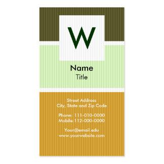 Retro Pinstripe Modern Monogram Business Card