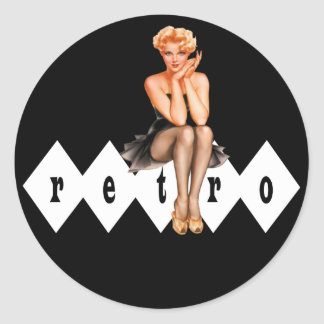 Retro Pinup Classic Round Sticker