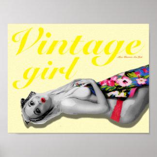 Retro Pinup Girl Art Nostalgic Vintage Girl Yellow Poster