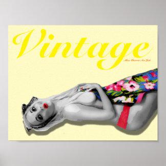 Retro Pinup Girl Art Nostalgic Vintage Landscape Poster