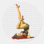 Retro Pinup Girl Round Stickers