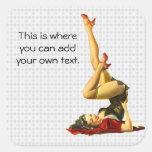 Retro Pinup Girl Square Stickers