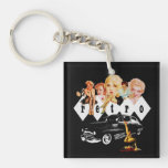 Retro Pinup Girls and a Hot Rod Single-Sided Square Acrylic Keychain
