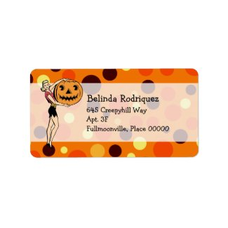 Retro PinUp Halloween address label label