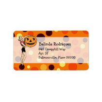 Retro PinUp Halloween Address Personalized Address Label
