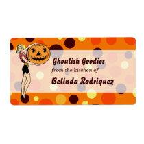 Retro PinUp Halloween Kitchen label