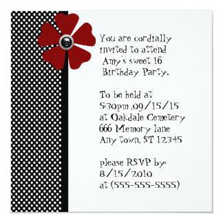 Retro Pinup Polka Dot Sweet 16 Birthday Card