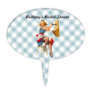 Retro Pinup Telephone Gingham Vintage Blue Red Cake Topper