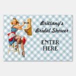 Retro Pinup Telephone Gingham Vintage Blue Red Signs