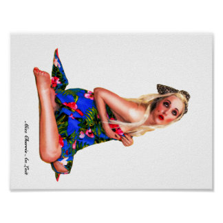 Retro Pinup Tropical Beach Girl Art Poster White